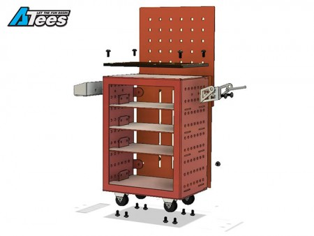 Pig Studio 1/10 4-Drawer Aluminum Mobile Tool Storage Cart