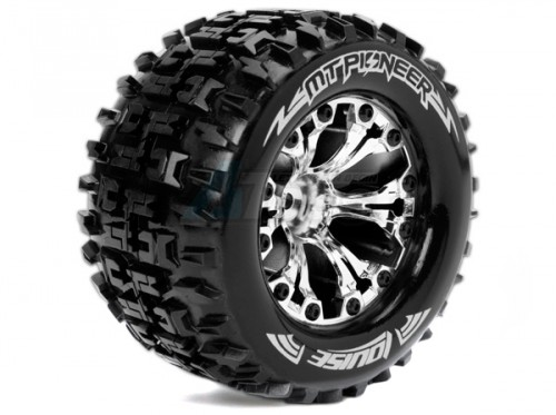 Traxxas Stampede VXL Louise 1/10 MT-Pioneer Traxxas Style Bead 2 8 Monster  Truck Tire Soft Compound / Chrome Rim / 0 Offset (rear)