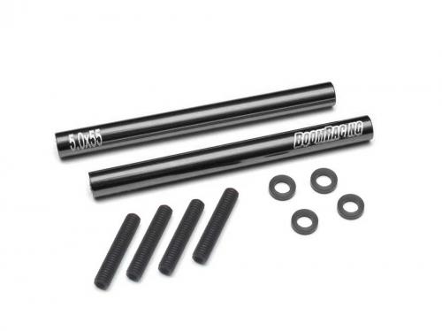 Boom Racing Threaded Aluminum Link Pipe Rod 5x55mm (2) w/ Set Screws &  Delrin Spacers Black