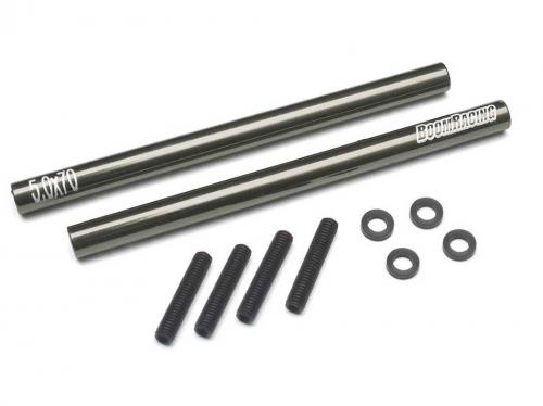 Boom Racing Threaded Aluminum Link Pipe Rod 5x70mm (2) w/ Set Screws &  Delrin Spacers Gun Metal