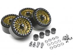 '' 'All' 'Venomous KRAIT™ 1.9 Aluminum Beadlock Wheels with 8mm Wideners (4) Gold'
