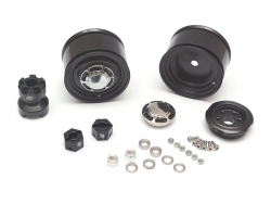 '' 'All' '1.55 Yota LC Classic Rear Beadlock Wheels (2) with 3mm Wideners (2) Black'