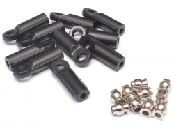 '' 'All' 'M3 Nylon Rod Ends (Straight) 21.8MM w/ Steel Pivot Ball (5.8x3x7.4mm) (10)'