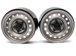 '' 'All' '1.9 Badass Classic 16-Hole Steelie & CNC Aluminum Beadlock Wheels W/ Center Hubs (Front) Gun Metal'