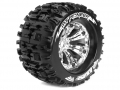 Traxxas E-Maxx Louise 1/8 MT-Pioneer Traxxas Style Bead 3.8  Monster Truck Sport Compound / Chrome Rim / 0 Offset Front & Rear by Louise RC