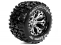 Traxxas Stampede VXL Louise 1/10 MT-Pioneer Traxxas Style Bead 2.8  Monster Truck Tire Soft Compound / Chrome Rim / 0 Offset (rear) by Louise RC
