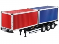 Miscellaneous All 1/14 Scale 3 Axle Tamiya Tractor Truck Double 20 Foot Container Semi-Trailer  by Hercules Hobby
