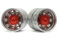 Miscellaneous All 1/14 Tractor Trucks Rear Dually Wheels Double Attached Wheels (2 pcs) Version B Red by Hercules Hobby