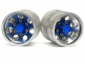 Miscellaneous All 1/14 Tractor Trucks Rear Dually Wheels Double Attached Wheels (2 pcs) Version C Blue by Hercules Hobby