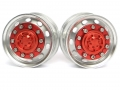 Miscellaneous All 1/14 Tractor Trucks Rear Wheels Single Wheels (2 pcs) Version A Red by Hercules Hobby