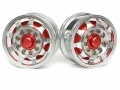Miscellaneous All 1/14 Tractor Trucks Rear Wheels Single Wheels (2 pcs) Version B Red by Hercules Hobby