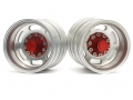 Miscellaneous All 1/14 Tractor Trucks Rear Dually Wheels Double Attached Wheels (2 pcs) Version E Red by Hercules Hobby