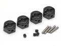 Miscellaneous All Aluminum Wheel Adaptors with Lock Screws With Pins & Screws - 4 Pcs Set (12mm Hex) Black by Boom Racing