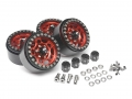 Miscellaneous All Sandstorm KRAIT™ 1.9 Aluminum Beadlock Wheels with 8mm Wideners (4) Red by Boom Racing