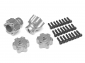 Axial Yeti Aluminum Front & Rear Wheel Hub Adapters - 2 Sets Silver by VIM