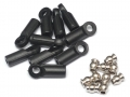 Miscellaneous All M3 Nylon Rod Ends (Straight) 18.5MM w/ Steel Pivot Ball (5.8x3x7.4mm) (10) by Team Raffee Co.