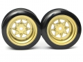 Miscellaneous All Classic Fake Tire Wall Wheel Set (2Pcs) Gold For 1/10 RC Car (6mm Offset) by Team Raffee Co.