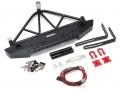Team Raffee Co. Axial SCX10 Steel Tough Rear Bumper W/ Shackles Led Light & Spare Tire Mount Black