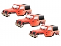 Team C Miscellaneous All Clear Jeep Rubicon 1/10 Rock Crawler Body (3pcs) For 300mm Chassis