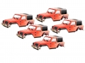 Team C Miscellaneous All Clear Jeep Rubicon 1/10 Rock Crawler Body (5pcs) For 300mm Chassis