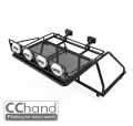 CChand RC4WD Trail Finder 2 Rear Metal Roof Rack + Tube Frame + IPF Light + Rear Working Light for TF2