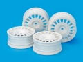 Miscellaneous All RC 24MM Med-Narrow Dish Wheels White/Offset 0 (4Pcs) by Tamiya