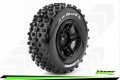 Traxxas Slash SC-ROCK 1/10 Short Course Wheel + Tire Set Mounted Soft (Black) for SLASH 2WD Front by Louise RC