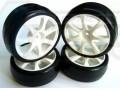 Miscellaneous All 1:10 Touring Car Rubber Tire Set - 7 spoke (Pre-Glued 34SU-V2 1Set 4Pcs) by Team Powers