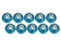 Miscellaneous All 2mm Aluminum Flanged Lock Nuts (10 Pcs) - Light Blue by 3Racing