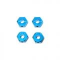 Tamiya CR01 CR01 Alum. Hex Hub Adaptors 4pcs (Blue) by KM Racing