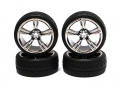 Miscellaneous All 1/10 Touring Wheel /tire Set  High Quality 5-spoke Whee (3mm Offset) + Devil Rubber Tire (4pcs) Chrome Gun Metal by Correct Model